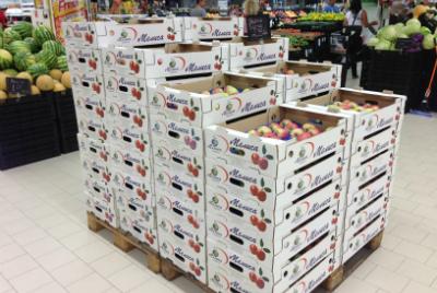 Ябълки и череши в готовата си продукция в няколко вида опаковки: бокс пале, кашон от 18 кг., брандиран кашон с бонбониера от 7 кг. и в мрежи от 1 до 3 кг. МЕЛИСА САНДАНСКИ